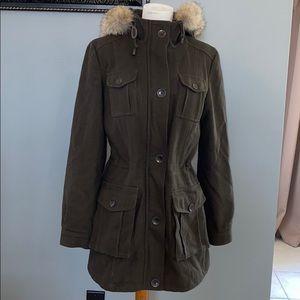 Andrew Marc wool coat fur trim size 4